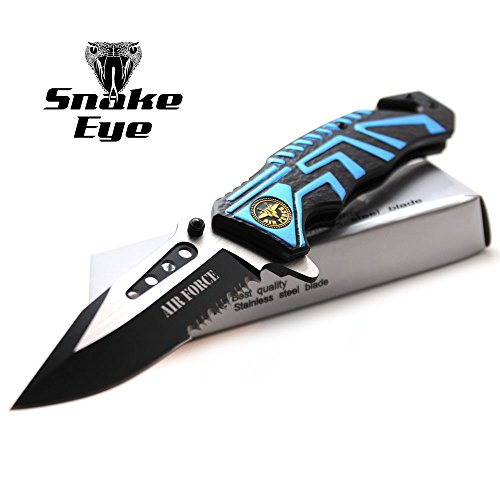 - Snake Eye Tactical Air Force Rescue Style Action Assist Folding Knife 4.5