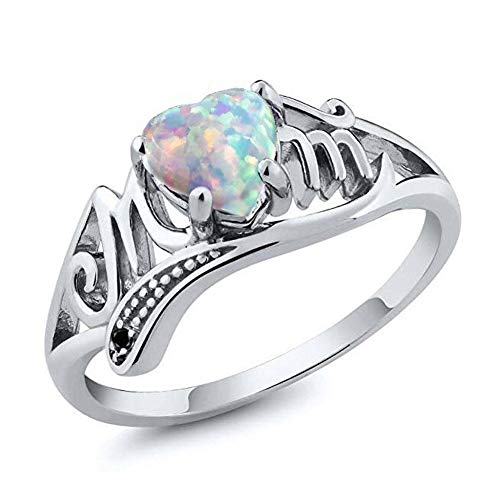 FAUOI Women Rings Heart Simulated Opal Band Hollow MOM Ring for Women in Mothday's Day Birthday Promise Gift