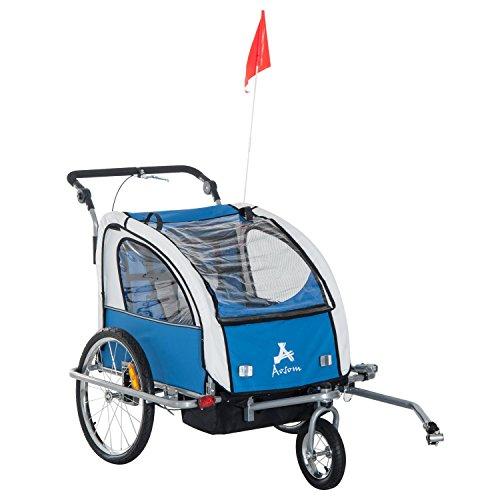 (Aosom Elite II 3in1 Double Child Bike Trailer, Blue)