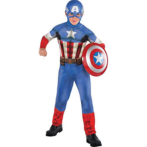 Costumes USA Captain America Costume Classic for Boys, Size Medium, Includes a Red, White, and Blue Jumpsuit and a Hood -