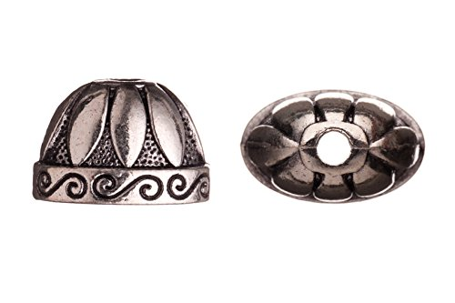 Oval cone with marquis and paisley lines antique silver-plated bead cap/cord end fits 19-21mm beads 19x14mm sold per 8pcs per pack - Oval Ovals Cone