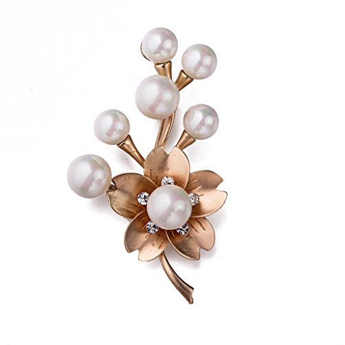 [Elegant Flower Brooch Pearl Corsage Pin Women Jewelry Sweater Shawl Scarf Buckle] (Peppermint Butler Costume)