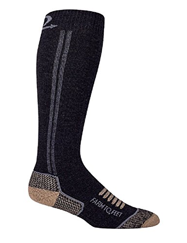 Farm to Feet Men's Ely Mid Weight Over-The-Calf Socks, Charcoal, Large