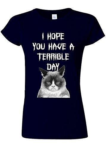 レンチエミュレートするプロフェッショナルI Hope You Have a Terrible Day Grumpy Cat Novelty Navy Women T Shirt Top-XXL