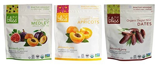Fruit Bliss Organic Non-GMO Dried Fruit Variety Bundle: (1) Fruit Medley, (1) Turkish Apricots, and (1) Deglet Nour Dates, 5 Oz. Ea. (3 Bags)