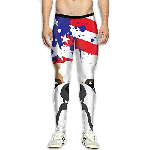 Bulldogs Pillow Santa (Yang Hai Lin Bulldog Us Flag Men's Sports Compression Legging Tights Pants Thermal Pant)