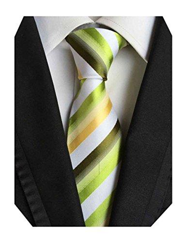Yellow Striped Silk Necktie - 7