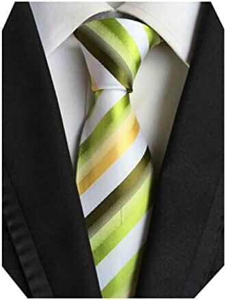 MINDENG Green White Yellow Striped Business Men's Silk Neckties Fantisic Tie