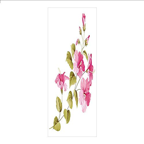 Yaoni 3D Decorative Film Privacy Window Film No Glue,Flower House Decor,Tropic Wild Hibiscus Flower Branch with Fresh Leaves Exotic Flora Concept,Pink Green White,for Home&Office ()