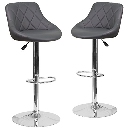Flash Furniture 2 Pk. Contemporary Gray Vinyl Bucket Seat Adjustable Height Barstool with Chrome Base - Bar Stool Gray Seat