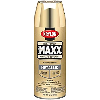 Krylon K09194000 COVERMAXX Spray Paint, Metallic Gold, 12 Ounce