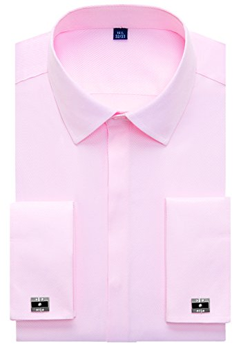 (Alimens & Gentle Men's French Dress Shirt Regular Fit (Include Cufflinks Collar Stays) (17