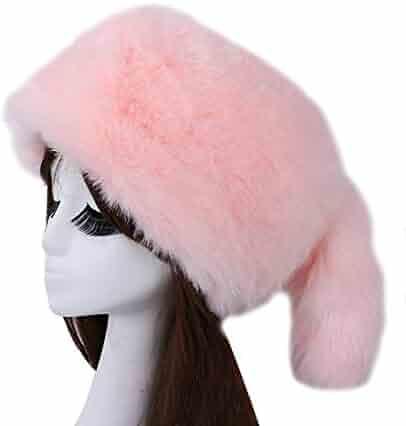 a455c47349c Women Faux Fur Hat Elastic Ear Warmer Winter Russian Cossak Snow Hat Earmuff