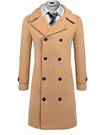 Coofandy Men's Trench Coat Winter Pea Coat Long Jacket Double ...