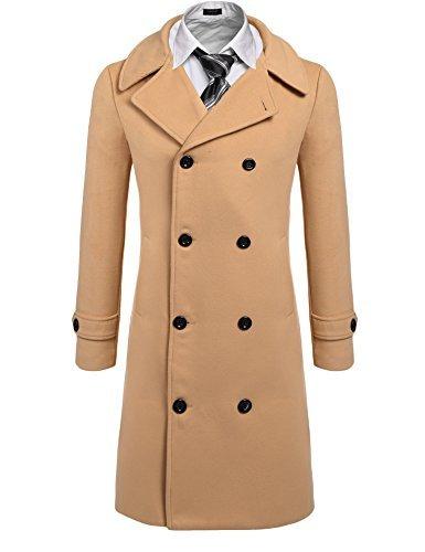 cdcfadd4e COOFANDY Men's Fashion Classic Wool Blend Double Breasted Pea Coat ...