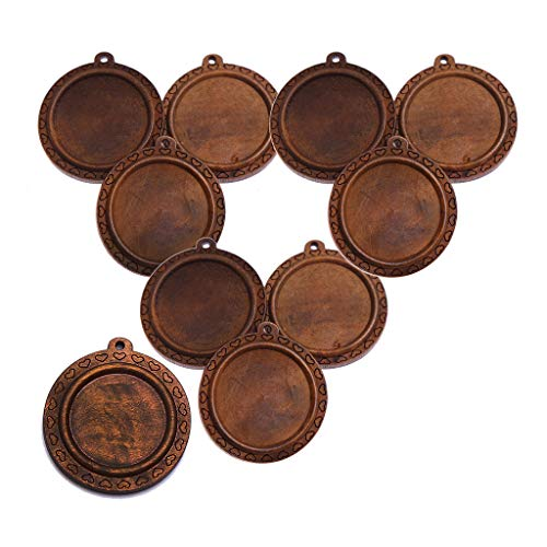Baosity 10 Pieces Brown Round Natural Wooden Blank Cameo Charms Cabochon Base Settings Blanks Tray DIY Necklace Bracelet Pendants 30mm - C