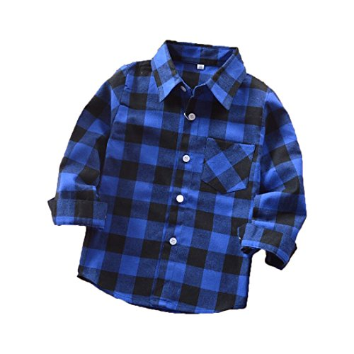 Sleeve Flannel Long Kids (Rainlover Little Boys' Long Sleeve Button Down Plaid Flannel Shirt (4T, E005))