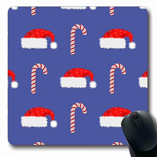 Ahawoso Mousepad Oblong 7.9x9.8 Inches Festive Blue Claus Red Hat Candy Cane Christmas Food Santa Celebration Confection Dessert Design Office Computer Laptop Notebook Mouse Pad,Non-Slip Rubber