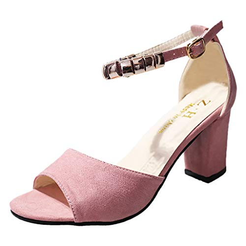 Sunhusing Ladies Stylish Belt Buckle Buckle Open Toe Fish Mouth Thick High Heel Sandals Womens Shoes Pink (Reptile Buckle Belt)