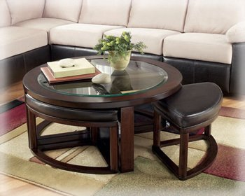 Coffee Table With Stools.Ashley Furniture Solid Wood Glass Top Coffee Table W Stools