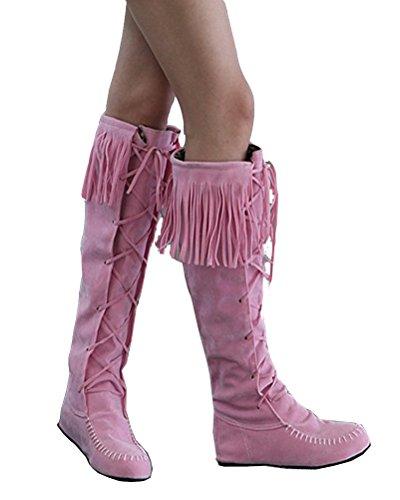 Stivali 35 HiTime Donna Le con Pink EU Frange Rosa zqFq1w