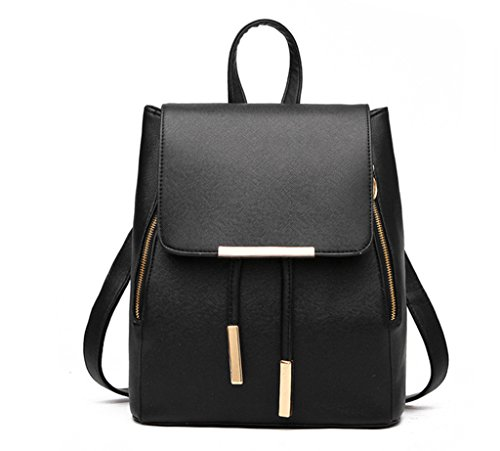 for Daypack Womens PU Black Solid Mini Fanci Backpack Shoulder Colour Casual Bag Small Hand XgwWSB