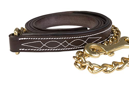 - Huntley Equestrian Leather Lead with Chain (Fancy Stitched, Padded)