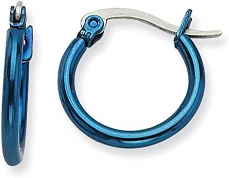 Chisel Stainless Steel Blue 15.5mm Hoop Earrings