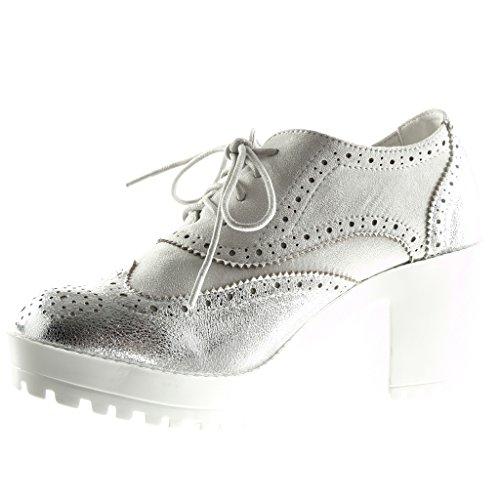 De 5 Mulheres Sapatos Calçados Prata Brilhantes Plataforma Brogue 7 De Cunha Salto Alto Das Salto Perfurado Angkorly Centímetros Sapatos qTHnZfAR