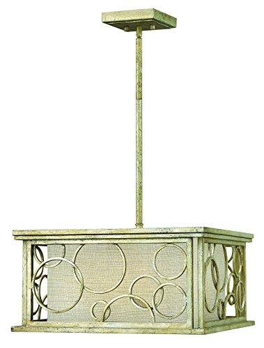 Hinkley 3285SL Transitional Three Light Stem Hung Foyer from Flourish collection in Pwt, Nckl, B/S, ()
