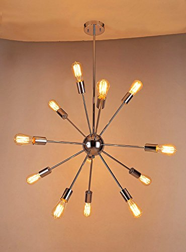 naturous 12 lights pendant light silver modern satellite style sputnik chandelier chrome finish industrial light fixture for residential use without bulbs - Starburst Chandelier