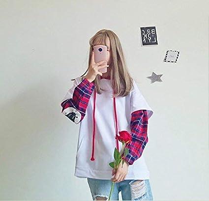 Packitcute Autumn Womens Korean Cute Long Sleeve Loose False Two-Piece Sweatshirts