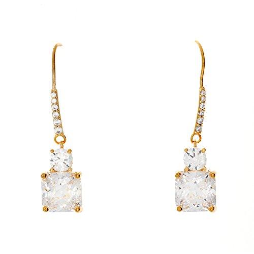 Pop Fashion 18k Gold 5 Carat Asscher Cut CZ Cubic Zirconia Dangle Drop Earrings
