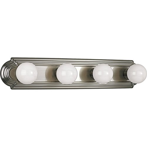 (Progress Lighting P3025-09 4-Light Embossed Wall Mount Bracket Sockets are On 6-Inch Centers and Wall Mount Only, Brushed Nickel)