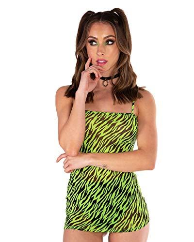 - iHeartRaves Neon Green Zebra Print Sheer Mesh Mini Dress (Medium)