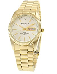 Swanson Mens Gold Day-Date Silver Idex Dial Watch with Travel Case