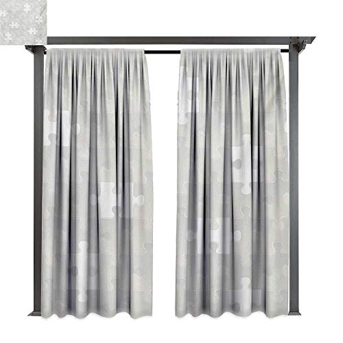 bybyhome Outdoor Door Curtain Grey Abstract Puzzle Patterns in Simple Background Shabby Mosaic Ornament Idea Kids Children W84 xL108 Suitable for Front Porch,pergola,Cabana,Covered Patio