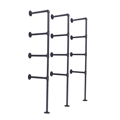 VINTAGELIVING Rustic Floating Pipe Shelves Wall Mounted Ceiling Hanging Bracket 56 Inch Industrial 4-Tier Shelving Loft 3pcs DIY