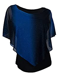 eVogues Plus Size Glitter Layered Look Poncho Top