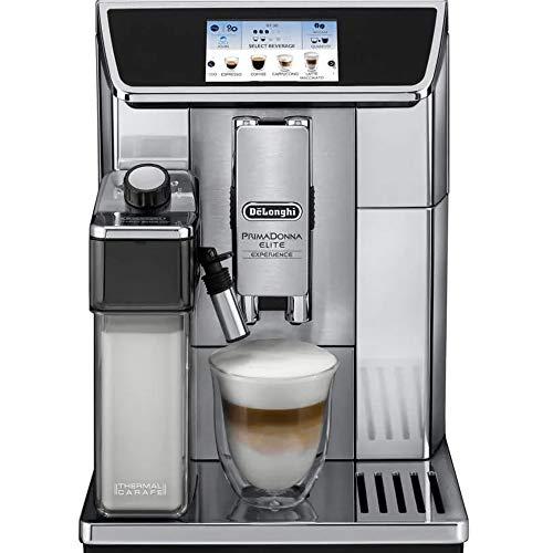 Delonghi super-automatic espresso coffee machine with double boiler, milk frother, chocolate maker for brewing espresso, cappuccino, latte, macchiato & hot chocolate. ECAM65085MS PrimaDonna -