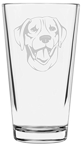 (Plott Hound Dog Themed Etched All Purpose 16oz Libbey Pint Glass)