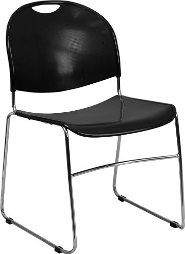 Textured Polypropylene Stacking Chairs - Flash Furniture 4 Pk. HERCULES Series 880 lb. Capacity Black Ultra Compact Stack Chair with Chrome Frame
