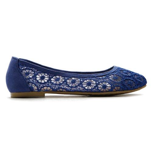 Scarpa Da Ballo Donna Ollio In Pizzo Floreale Traspirante Blu Royal