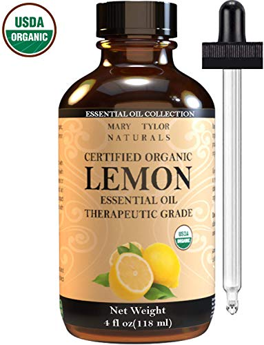 - USDA Organic lemon Essential Oil, Large 4 oz by Mary Tylor Naturals, 100% Pure Essential Oil, Therapeutic Grade, Perfect for Aromatherapy, Relaxation, DIY, Improved Mood