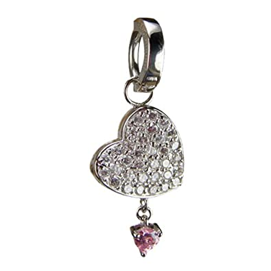 656fb137 Changeable Cz Heart Belly Bar Charm on Tummytoys Belly Ring Set. Easy Open,  One