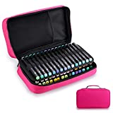 BTSKY Art Marker Carrying Case Lipstick Organizer-60 Slots Canvas Zippered Markers Storage for Copic Prismacolor Touch Spectrum Noir Paint Sharpie Markers, Empty Wallet Only (Pink)