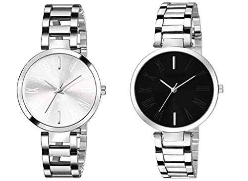 Acnos Steel Belt Analogue Multicolour Dial Women's Watch -Combo Pack of 2
