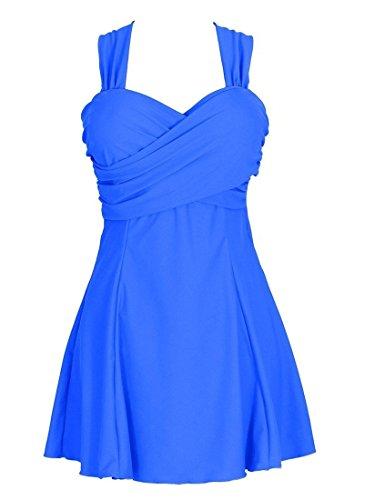AnnabemZ Women's Swimwear One Piece Cover up Swimdress Crossover Swimsuit (US 12-14, Blue)