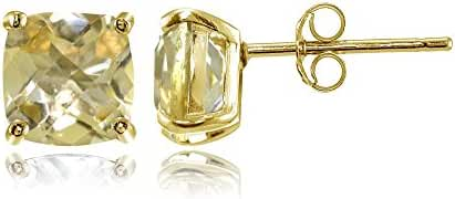 Sterling Silver 6mm Cushion-Cut Gemstones Stud Earrings, Choice of Colors