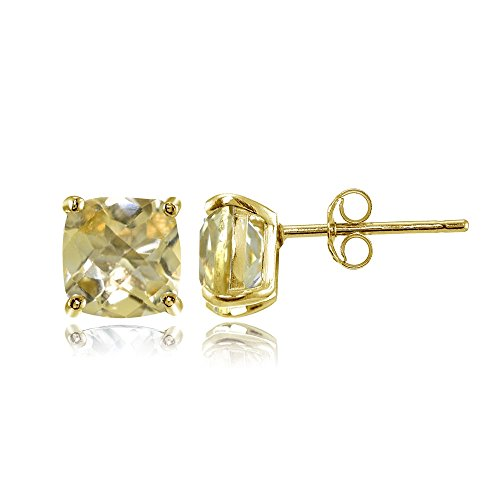 (Yellow Gold Flashed Sterling Silver 6mm Cushion-Cut Citrine Stud Earrings )